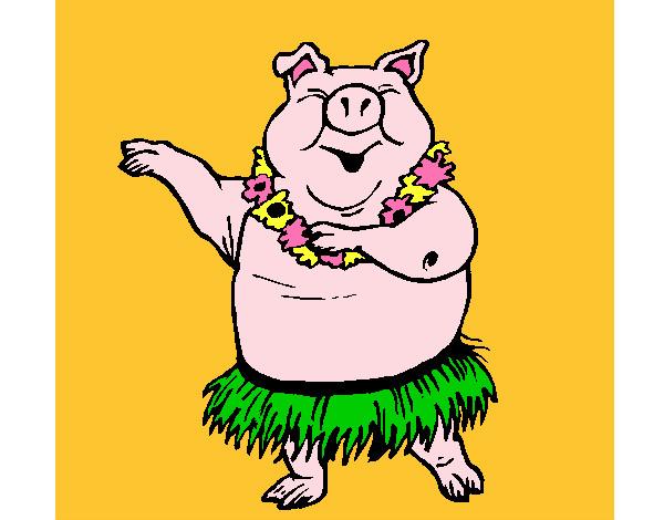 Dibujo de Cerdo hawaiano pintado por Lucydead en Dibujosnet el