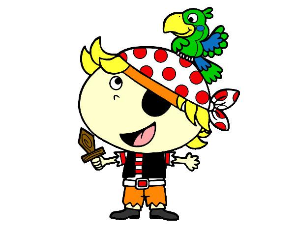 Dibujo de pirata ni o con loro pintado por gamiz en el d a 26 02 12 a las 06 51 53 - Piratas infantiles imagenes ...