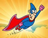 Dibujo Súper héroe volando pintado por Laaaauraaa