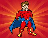 Dibujo Superhéroe musculado pintado por nacor