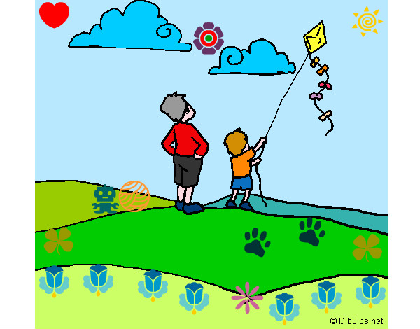 Niño Con Papalote Dibujo
