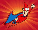 Dibujo Súper héroe volando pintado por antitto