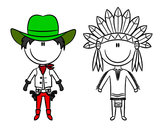 Dibujo Vaquero e indio contentos pintado por chaguanada