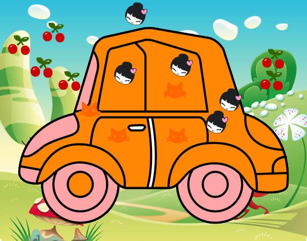 Dibujo de carro de muecas y gatitos pintado por Vaneabiga1 en