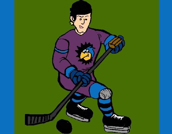 Dibujos Para Colorear Jugador De Hockey: Dibujo De Jugador De Hockey Sobre Hielo Pintado Por
