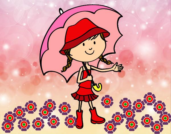 Dibujo De Niña En La Lluvia Rosa Pintado Por Tedo En