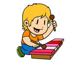 Dibujo Niño con xilófono pintado por SubZeroMK