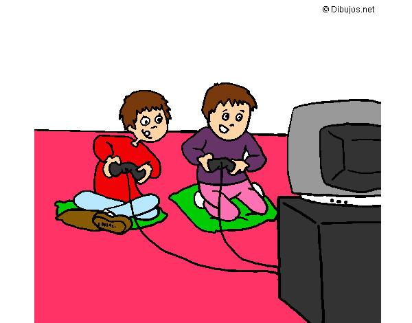 Los niños jugando a la Play Station 2.