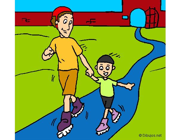 Dibujo de patinando juntos pintado por Hanita en Dibujosnet el
