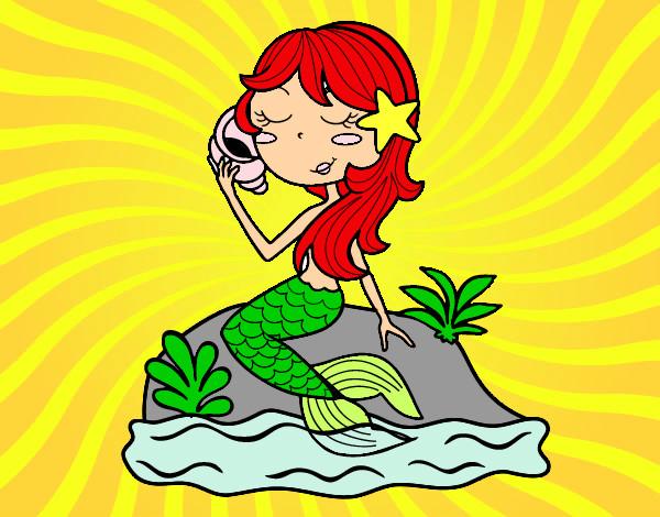 Dibujo de sirena del mar pintado por Pire en Dibujosnet el da 07