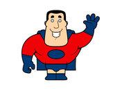 Dibujo Superhéroe saludando pintado por mini3