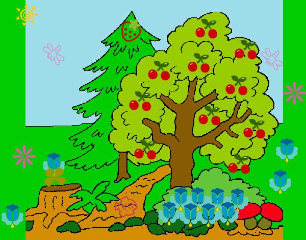 Dibujo de la naturaleza pintado por Crysleidy en Dibujosnet el