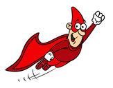 Dibujo Súper héroe volando pintado por ValeriaAV