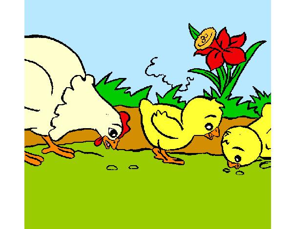 Dibujo de Gallina y pollitos pintado por Lamorales en Dibujosnet