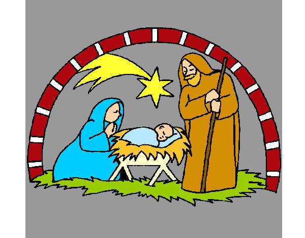 Dibujo de pesebre de navidad pintado por lamorales en for Dibujos de navidad pintados