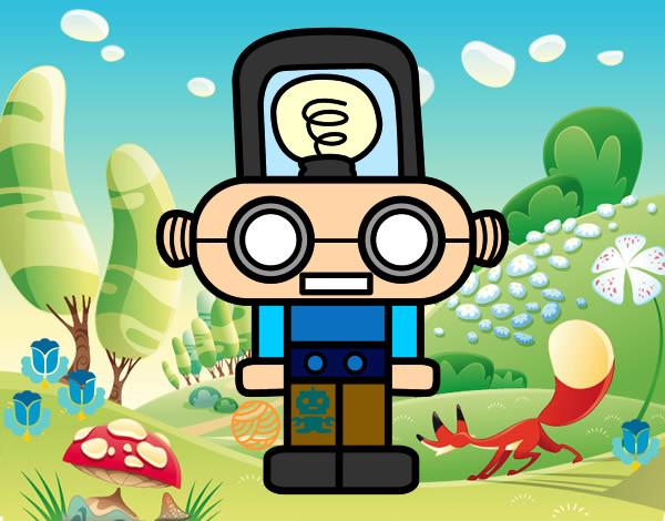 Dibujo de nio robot pintado por Sasamari en Dibujosnet el da 01