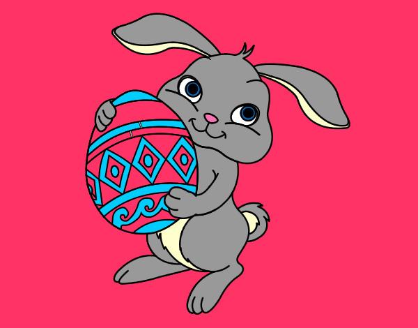 Dibujo de conejito de pascua pintado por Marinanina en Dibujosnet