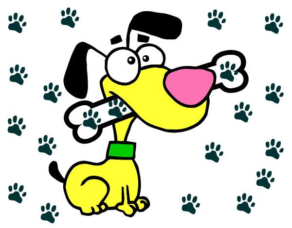 Dibujo de Perrito con un hueso pintado por Karitto en Dibujosnet