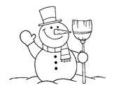 Dibujo muñeco de nieve con escoba pintado por deni_21313