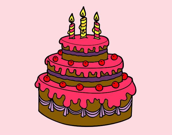 Dibujo de Tarta de cumpleaños pintado por Camilka en ...