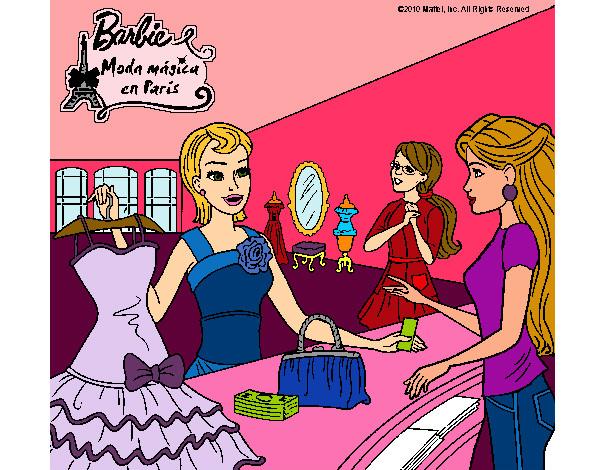 Dibujo de Barbie en una tienda de ropa pintado por Lolaluly99 en