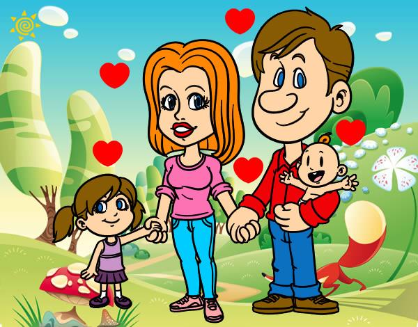 Dibujo de Familia feliz pintado por Cecy011 en Dibujosnet el da