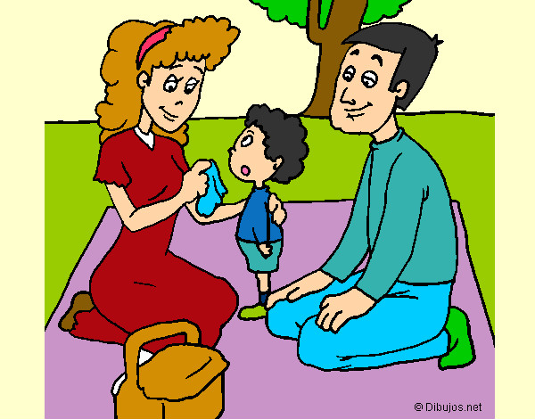 Dibujo de papamama y hijo pintado por Dragon3000 en Dibujosnet