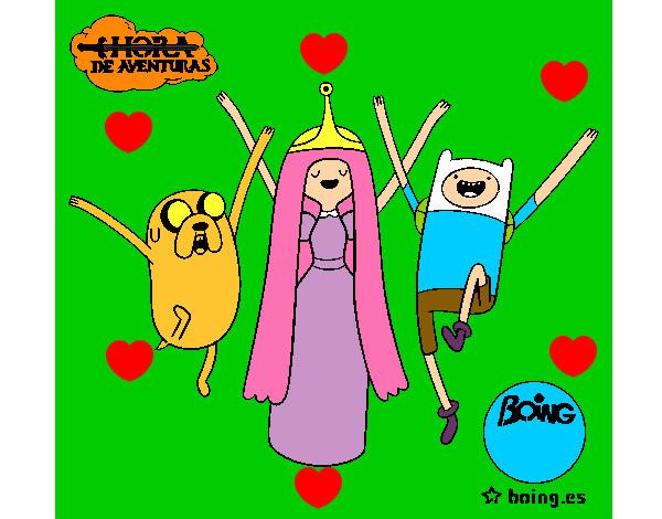 Dibujo De Jake Princesa Chicle Y Finn Pintado Por Isco En Dibujos