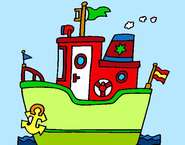 Dibujo de barco con ancla pintado por queyla en dibujos for Dibujos infantiles pintados