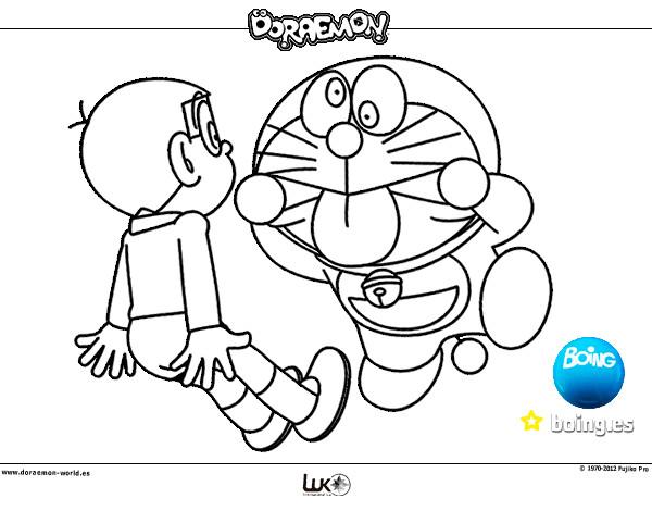 Dibujo de Doraemon y Nobita pintado por Leerose1 en Dibujosnet el