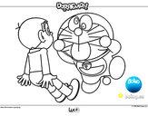 Dibujo Doraemon y Nobita pintado por leerose1