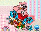 Dibujo Gumball y amigos contentos pintado por _aniita_