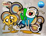 Dibujo Finn y Jake pintado por argmaxi