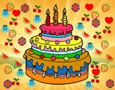 Dibujo Tarta de cumpleaños pintado por vladi