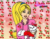 Dibujo Barbie con su linda gatita pintado por iseladelro