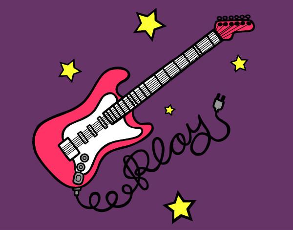 Dibujo de guijtarra de rock  pintado por Bettany en Dibujosnet