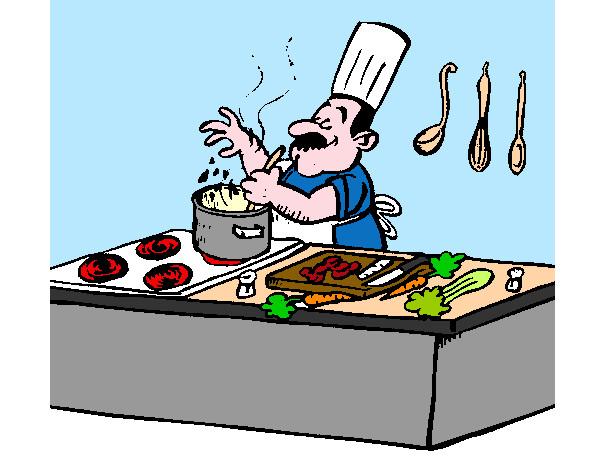 Dibujo de cocinero cocinando pintado por minue en dibujos for Cocinar para 40 personas