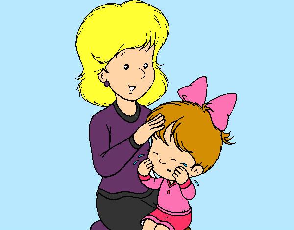 Dibujo de Una mama peinando a su hija pintado por Karlixd en