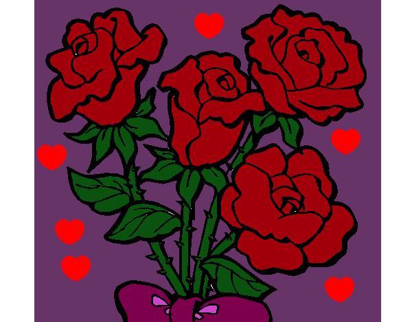 Dibujo De Rosas Pintado Por Claudia422 En Dibujos Net El Dia 24 06