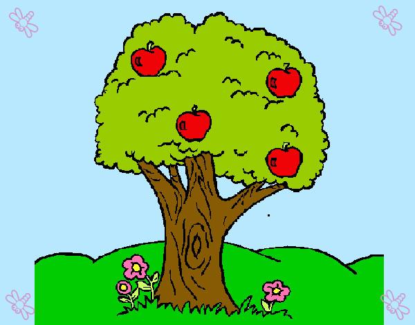 Dibujo De árbol De Manzanas Pintado Por Camila2003 En Dibujosnet El