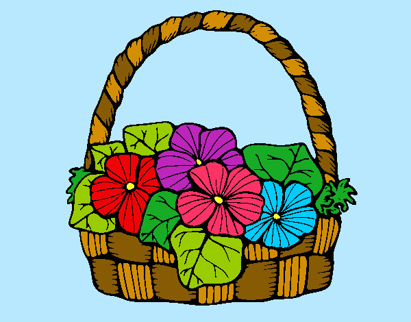 Dibujo de cesto con flores bonitas pintado por Carlyamile en