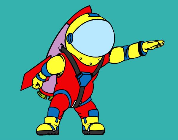 Cohete De Astronauta Y Vintage De Dibujos Animados: Dibujo De Astronauta Pintado Por Astronauta En Dibujos.net