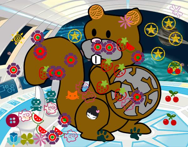Dibujo de ardilla decorada pintado por Carla99 en Dibujosnet el
