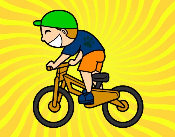 Dibujo de ninito andando en bici pintado por Flowers en Dibujos
