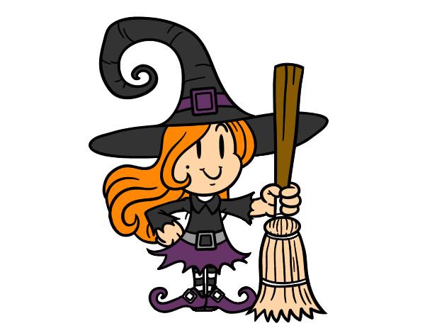 Dibujo de bruja con escoba pintado por boyfryend en dibujos net el
