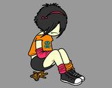 Dibujo Chica EMO pintado por 1000ARIS