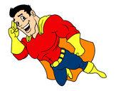 Dibujo Superhéroe volando pintado por spidey