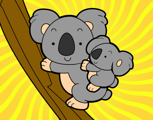 Dibujo de Madre koala pintado por Pingo en Dibujos.net el día 07-08 ... Feliz Dia Mama