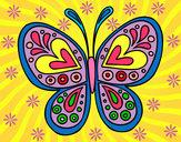 Dibujo Mandala mariposa pintado por rasras