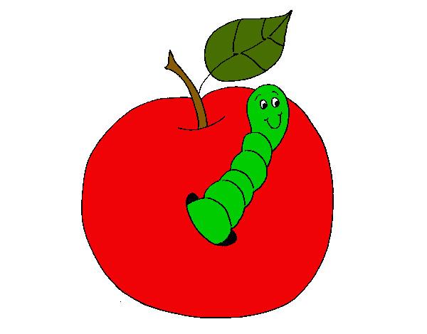 Dibujo de Manzana con gusano pintado por Reyna23 en Dibujos.net el ...